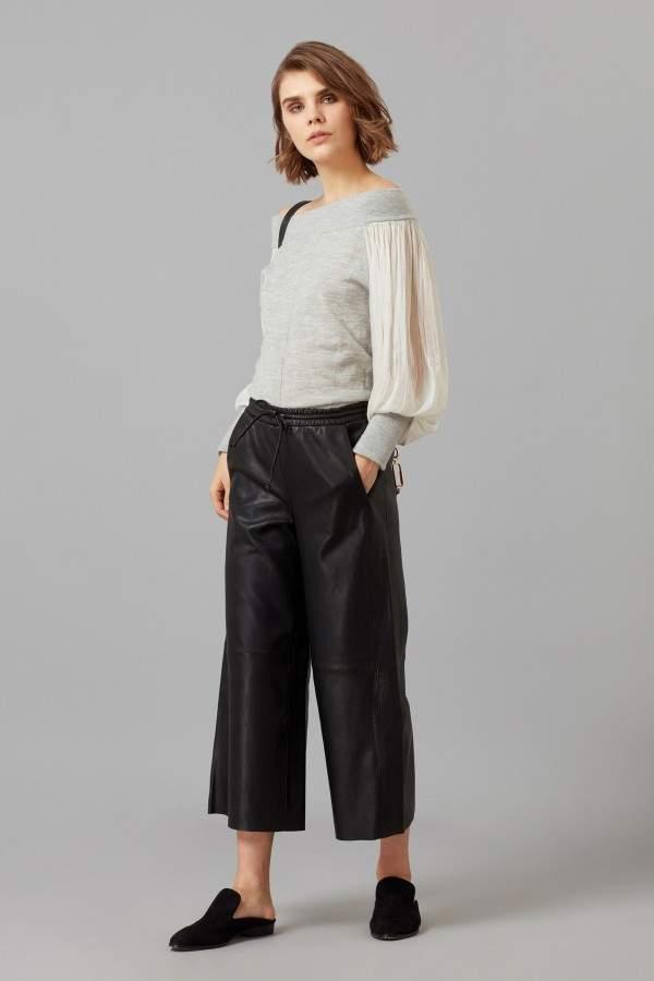 Amanda Wakeley Grey Off Shoulder Cashmere Jumper With Silk Sleeves
