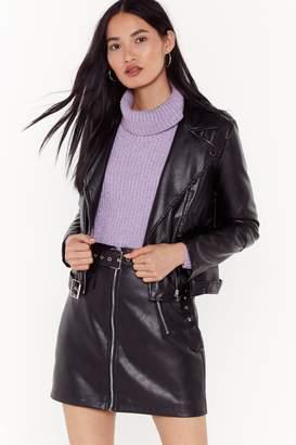 Nasty Gal Womens Faux Leather Moto Jacket - black - 14