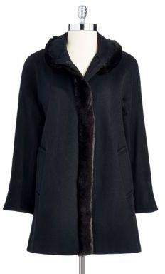 Ellen Tracy Petite Faux Fur Wool Jacket