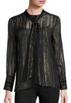 Equipment Leema Silk & Metallic Stripe Tie Blouse