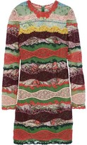 Valentino Paneled Printed Cotton-gauze, Lace And Point D'esprit Mini Dress