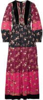 Ulla Johnson Suzana Velvet-trimmed Printed Cotton-blend Maxi Dress