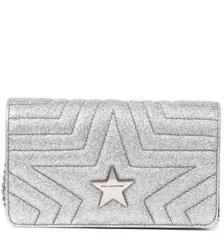 Stella McCartney Star Silver Quilted Fabric Crossbody Bag