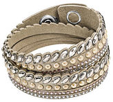 Swarovski Slake Pulse Stainless Steel and Leather Bracelet