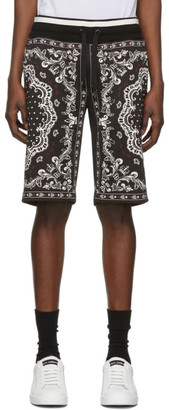Dolce & Gabbana Black and White Bandana Bermuda Shorts
