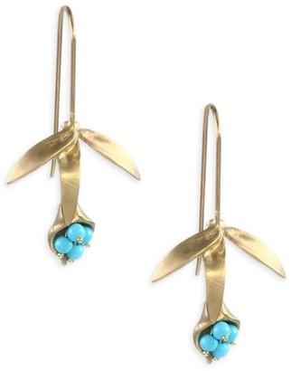 Annette Ferdinandsen Turquoise & 14K Gold Wildflower Earrings
