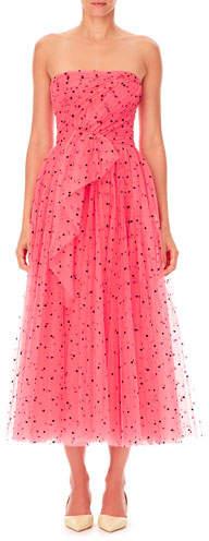 Carolina Herrera Strapless Heart-Print Tulle A-Line Cocktail Dress w/ Twist Draping