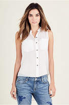 True Religion Womens High Low Button Up Shirt