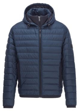 BOSS Water-repellent down jacket with pop-colour lining