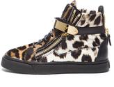 Giuseppe Zanotti High Top Calf Hair Sneakers in Leopard