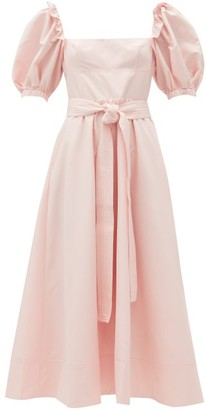 Self-Portrait Belted Puff-sleeve Taffeta Midi Dress - Light Pink