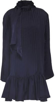 J.W.Anderson Tie-neck Pleated Satin-twill Mini Dress