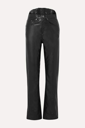Pushbutton - Faux Leather Slim-leg Pants - Black