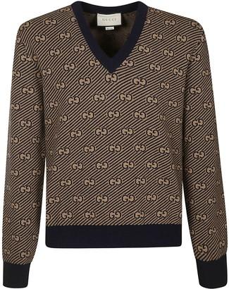 Gucci V-neck Logo Motif Sweater