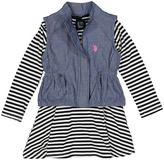 U.S. Polo Assn. Black & White Stripe Dress & Denim Vest - Infant & Girls