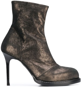 Ann Demeulemeester burnished metallic ankle boots