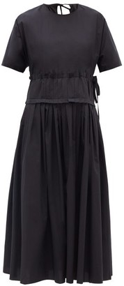 Sara Lanzi Pleated-waist Cotton Midi Dress - Womens - Black