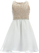Rare Editions Big Girls 7-16 Glitter Lace Back Keyhole Dress