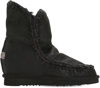 Mou 70mm Mini Eskimo Wedge Shearling Boots