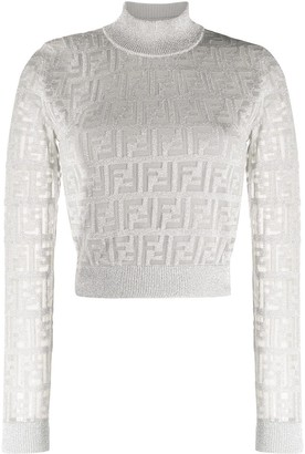 Fendi FF motif sheer sleeves jumper