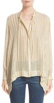 Etro Women's Metallic Stripe Silk Blend Blouse