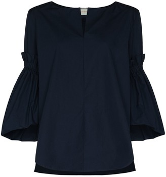 Silvia Tcherassi Bell-Sleeved Cotton Blouse