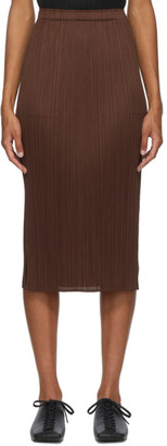 Pleats Please Issey Miyake Brown Pleated Mid-Length Skirt