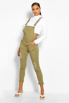 boohoo Jane Slim Fit Distressed Dungarees khaki