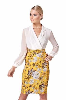 Paper Dolls Women's Mustard Floral-Print Belted Shirt Dress