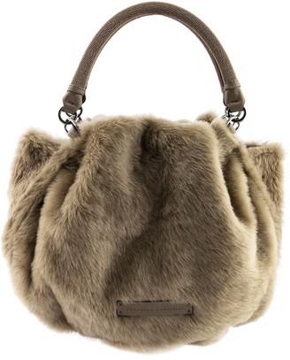 Brunello Cucinelli Shearling Mini Bag With Shiny Handle