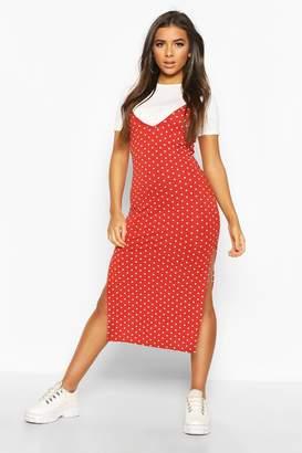 boohoo Polka Dot Layered T-shirt Slip Dress