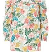 Dorothy Perkins Wo**tall Tropical Slub Shirred Bardot Top