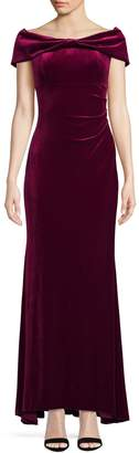 Eliza J Off-The-Shoulder Velvet Gown