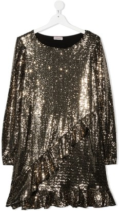 Pinko Kids TEEN sequin flounce-trimmed dress