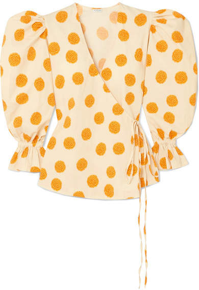 Rhode Resort Valentina Printed Cotton-blend Voile Wrap Top - Marigold