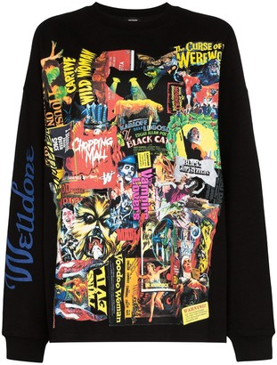 we11done Horror Collage Print Sweatshirt