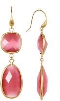 Rivka Friedman 18K Gold Clad Faceted Raspberry Cat's Eye Crystal Bold Double Dangle Earrings