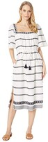 Tory Burch Swimwear Embroidered Midi Dress Cover-Up (New Ivory/Tory Navy) Women's Swimwear