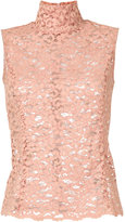 Erika Cavallini high collar sleeveless lace top