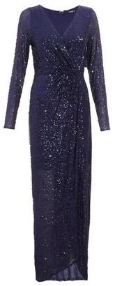 Dorothy Perkins Womens *Quiz Navy Sequin Wrap Maxi Dress, Navy