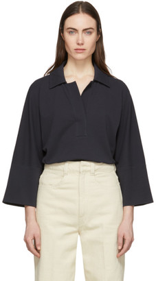 Lemaire Black Three-Quarter Sleeve Polo