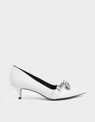 Charles & KeithCharles & Keith Leather Embellished Court Shoes
