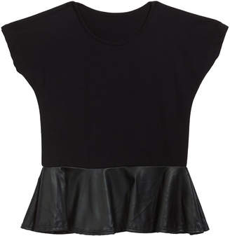Flowers by Zoe Girl's Faux Leather Peplum Top, Size S-XL