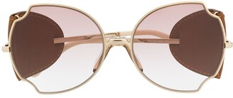 Chloé Leather-Embellished Oversized Frame Sunglasses