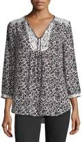 NYDJ 3/4-Sleeve Graphic Floral-Print Peasant Top