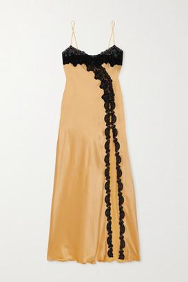 Loretta Caponi Nausica Lace-trimmed Silk-satin Maxi Dress - Gold