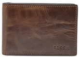 Fossil Men's Derrick Leather Money Clip Bifold Wallet - Brown