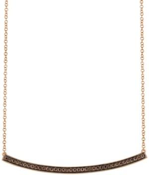 "LeVian Le Vian Chocolatier Diamond Curved Bar 18"" Pendant Necklace (1/3 ct. t.w.) in 14k Rose Gold"