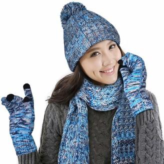 Geilisungren Hat Scarf and Glove Set for Women Knitted Woolen Beanie Gloves & Scarf Winter Set Warm Thick Fashion Hat Touchscreen Mittens 3 in 1 Cold Weather