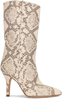 Paris Texas Python Print Nubuck Midi Boot in Natural | FWRD